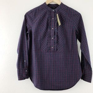 J. Crew Ruffle Windowpane Button-Down, NWT